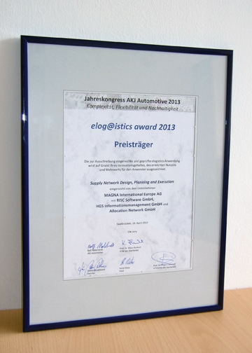 elogistics award Urkunde